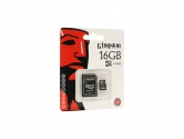 Kingston MicroSDHC 16GB class 4 c SD адаптером