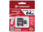 Transcend MicroSD 64Gb Class 10 UHS-I +SD адаптер