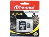 Transcend MicroSD 8Gb Class 10+SD адаптер