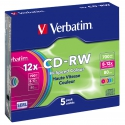 Verbatim CD-RW Colour 12x slim 5