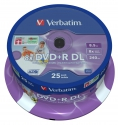 Verbatim DVD+R Double Layer Inkjet Printable 8x cake 25