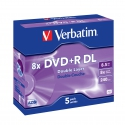 Verbatim DVD+R Double Layer Matt Silver 5 Pack Jewel Case